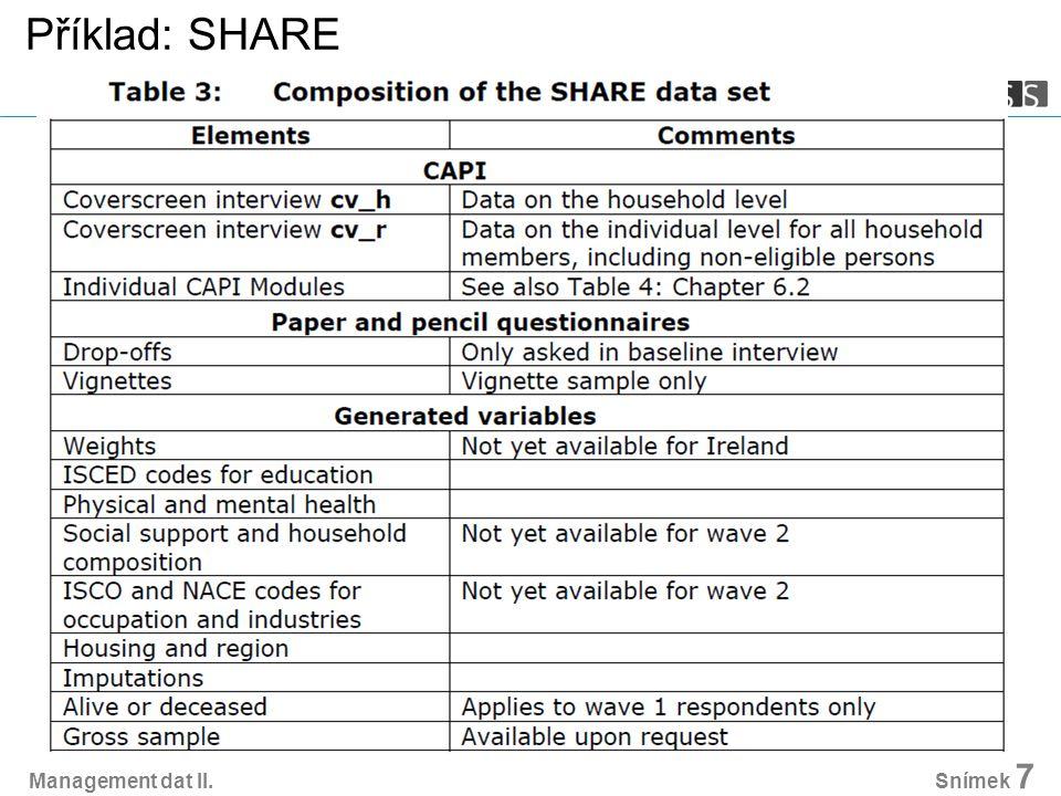 Management dat II. Snímek 7 Příklad: SHARE