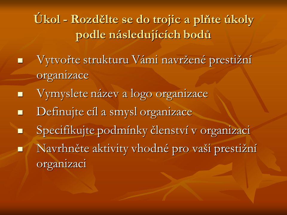 Úkol - Rozdělte se do trojic a plňte úkoly podle následujících bodů Vytvořte strukturu Vámi navržené prestižní organizace Vytvořte strukturu Vámi navržené prestižní organizace Vymyslete název a logo organizace Vymyslete název a logo organizace Definujte cíl a smysl organizace Definujte cíl a smysl organizace Specifikujte podmínky členství v organizaci Specifikujte podmínky členství v organizaci Navrhněte aktivity vhodné pro vaši prestižní organizaci Navrhněte aktivity vhodné pro vaši prestižní organizaci