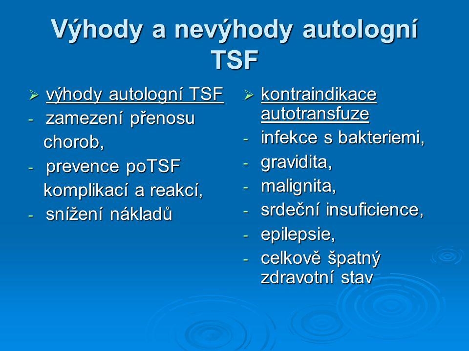 Výhody a nevýhody autologní TSF  výhody autologní TSF - zamezení přenosu chorob, chorob, - prevence poTSF komplikací a reakcí, komplikací a reakcí, -