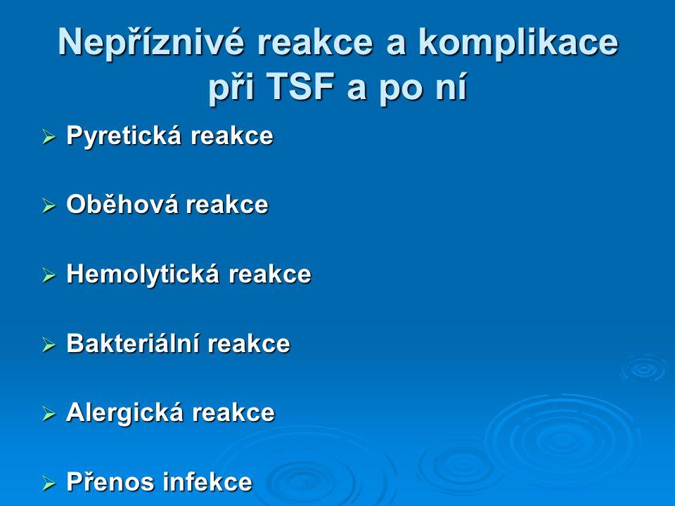 Nepříznivé reakce a komplikace při TSF a po ní  Pyretická reakce  Oběhová reakce  Hemolytická reakce  Bakteriální reakce  Alergická reakce  Přen