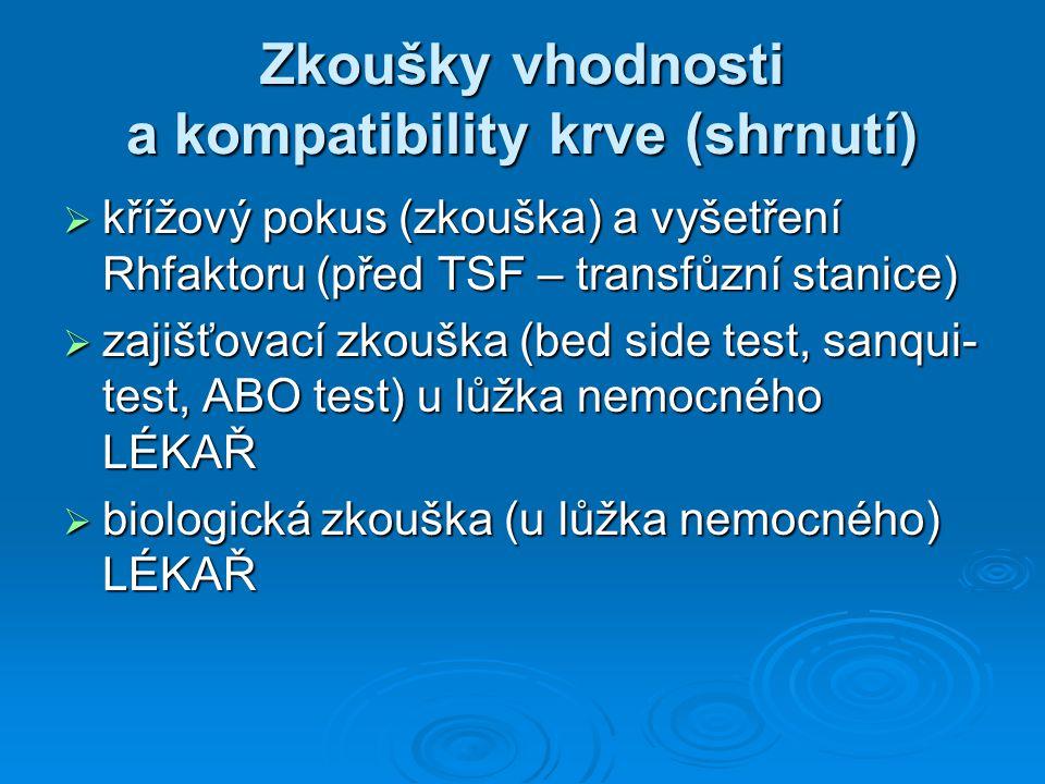 Zkoušky vhodnosti a kompatibility krve (shrnutí)  křížový pokus (zkouška) a vyšetření Rhfaktoru (před TSF – transfůzní stanice)  zajišťovací zkouška