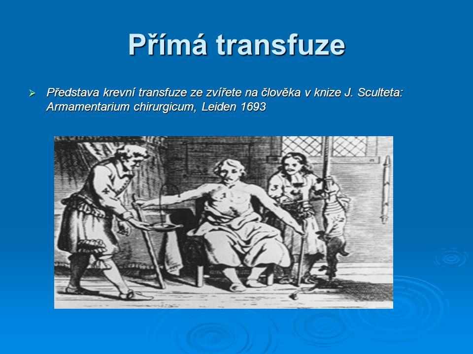 Přímá transfuze  Představa krevní transfuze ze zvířete na člověka v knize J. Sculteta: Armamentarium chirurgicum, Leiden 1693