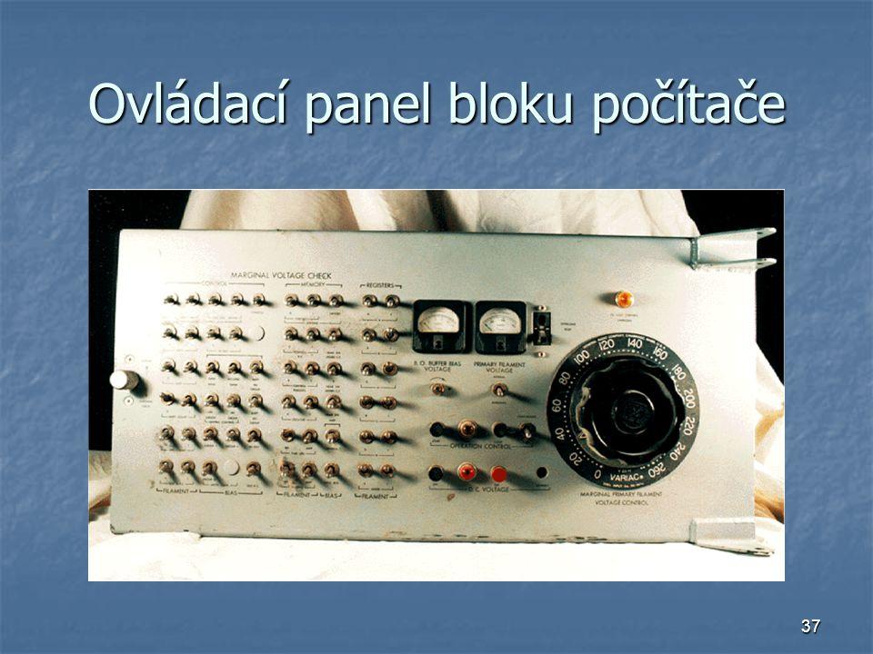 37 Ovládací panel bloku počítače