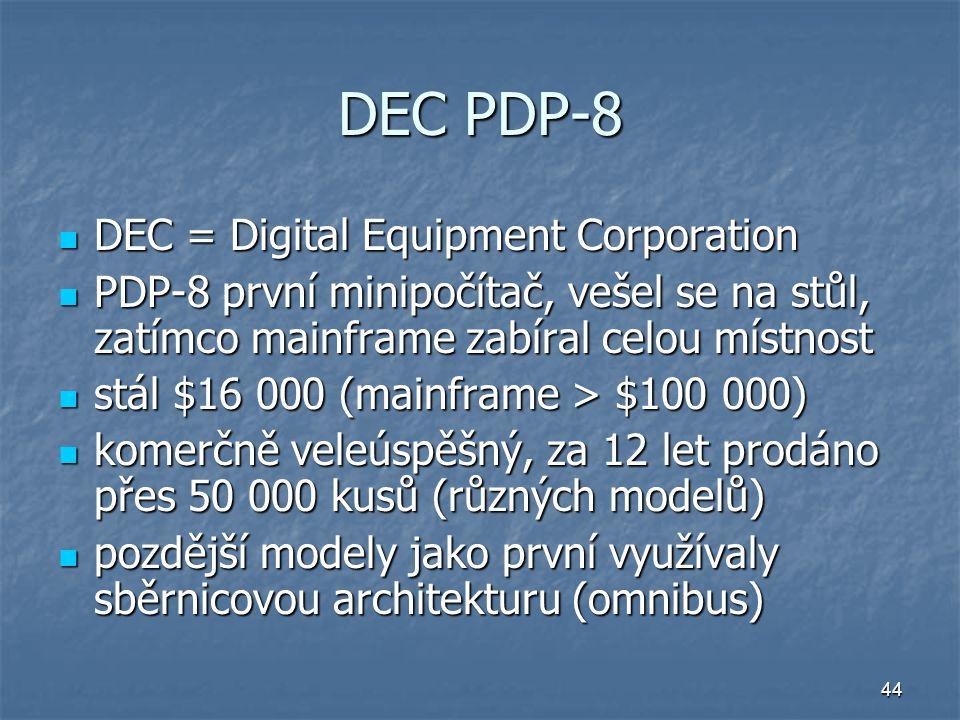44 DEC PDP-8 DEC = Digital Equipment Corporation DEC = Digital Equipment Corporation PDP-8 první minipočítač, vešel se na stůl, zatímco mainframe zabí