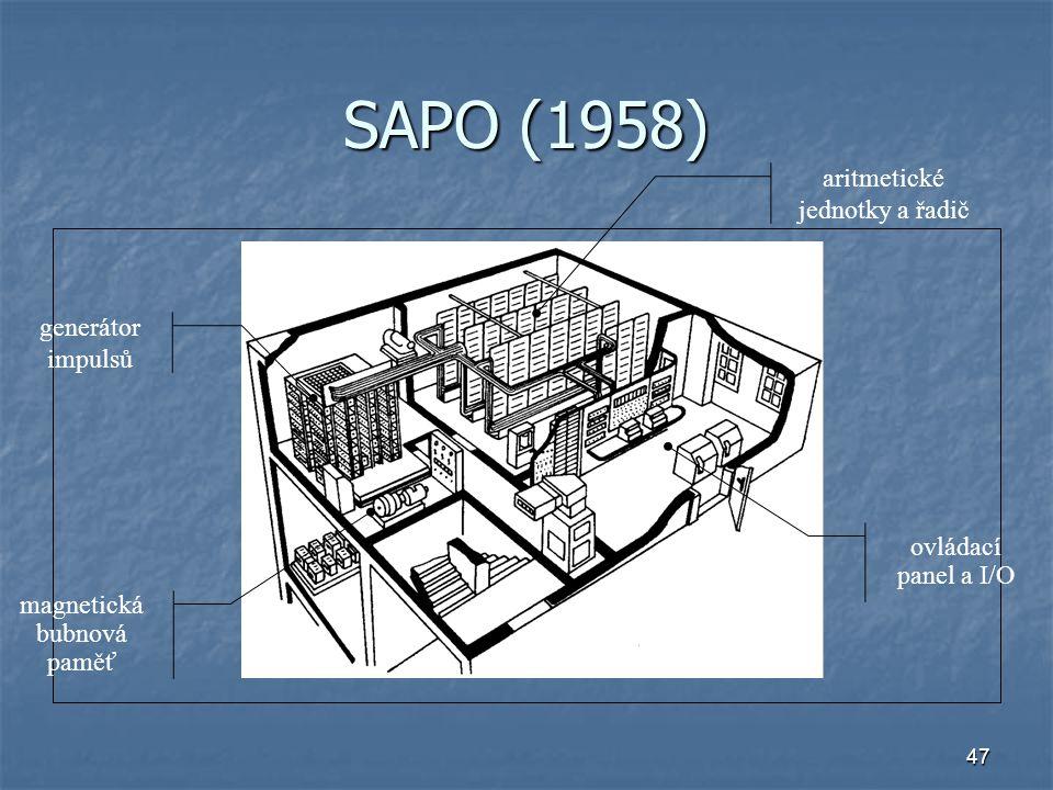 47 SAPO (1958) generátor impulsů aritmetické jednotky a řadič magnetická bubnová paměť ovládací panel a I/O