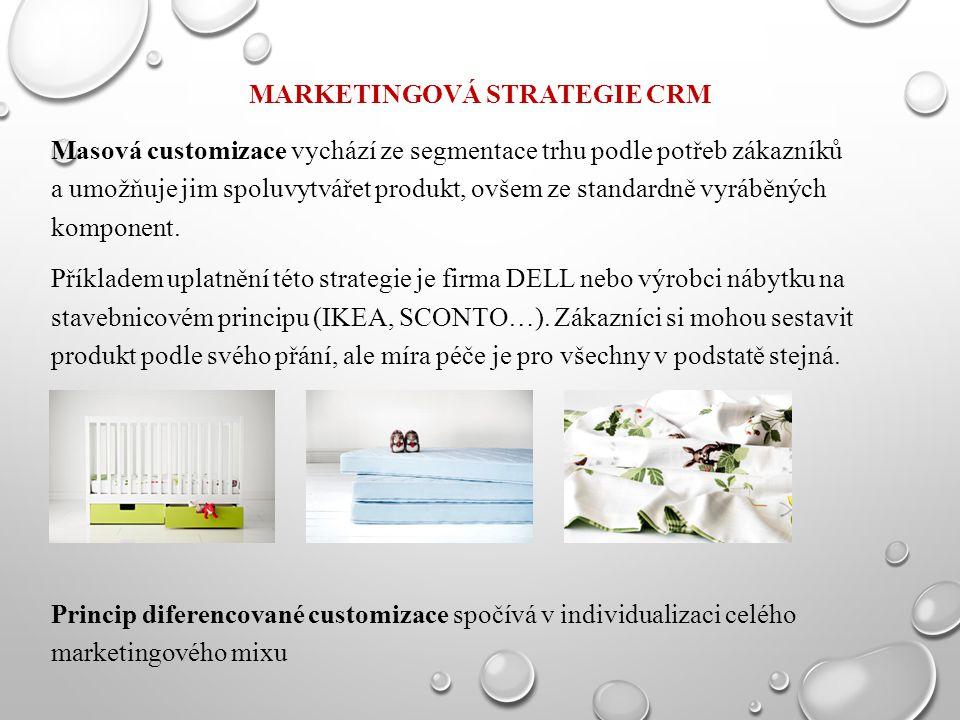 MARKETINGOVÁ STRATEGIE CRM Masová customizace vychází ze segmentace trhu podle potřeb zákazníků a umožňuje jim spoluvytvářet produkt, ovšem ze standar