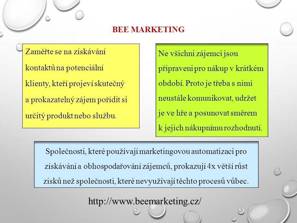 BEE MARKETING Zaměřte se na získávání kontaktů na potenciální klienty, kteří projeví skutečný a prokazatelný zájem pořídit si určitý produkt nebo služ