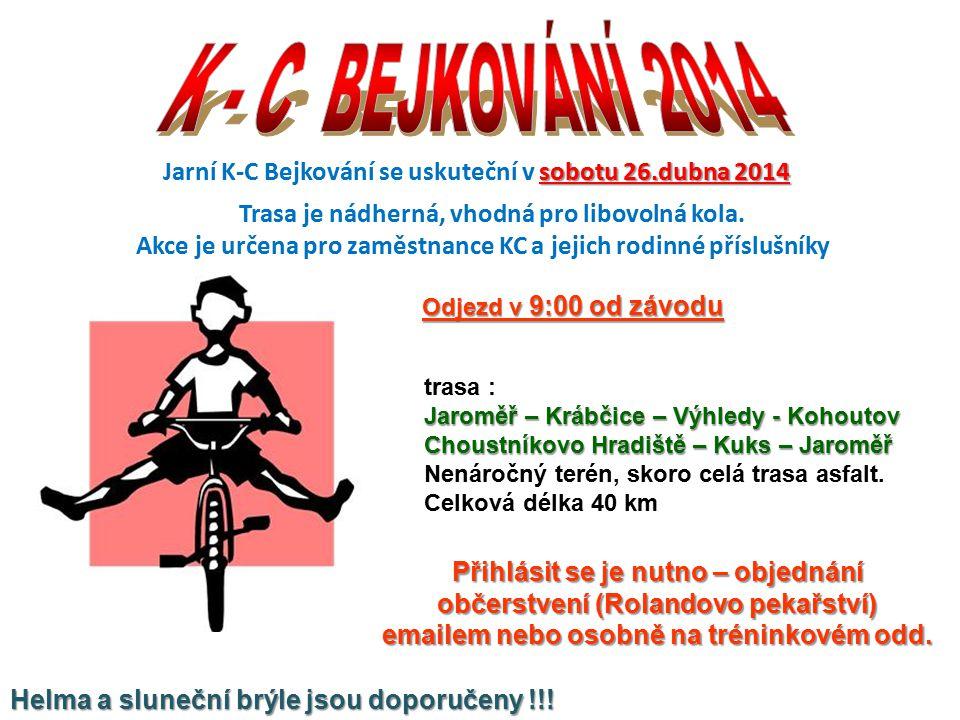 sobotu 26.dubna 2014 Jarní K-C Bejkování se uskuteční v sobotu 26.dubna 2014 Trasa je nádherná, vhodná pro libovolná kola.