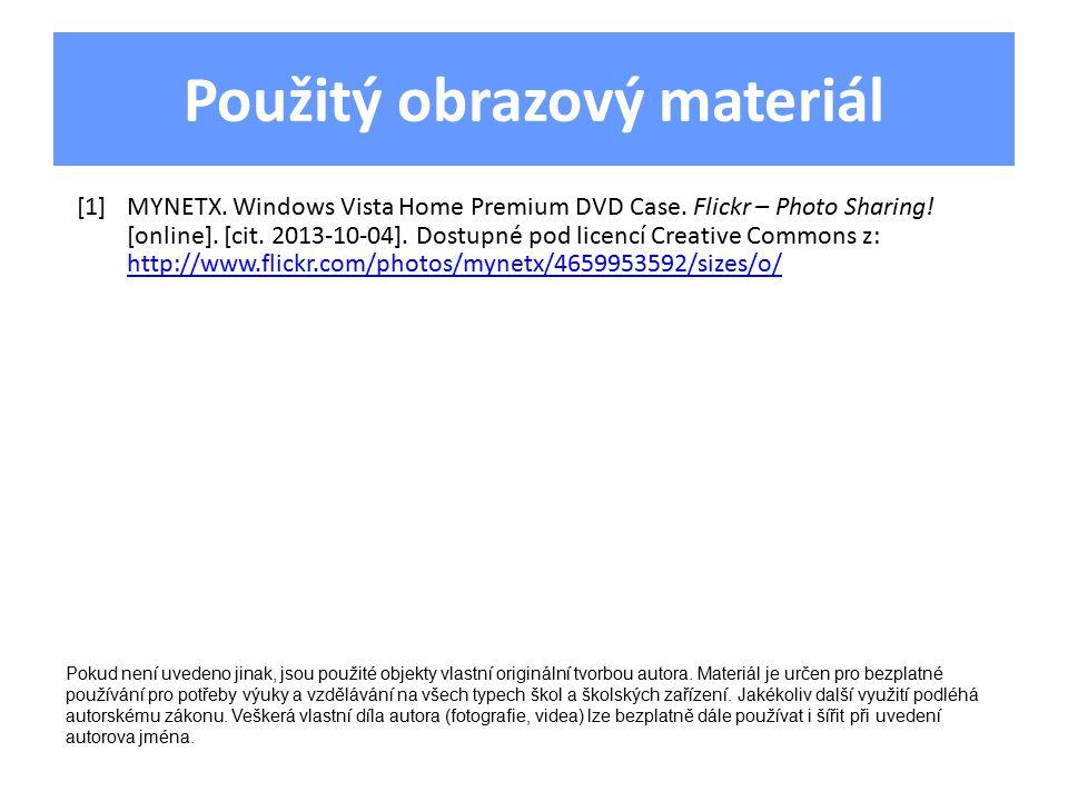 Použitý obrazový materiál [1]MYNETX. Windows Vista Home Premium DVD Case.