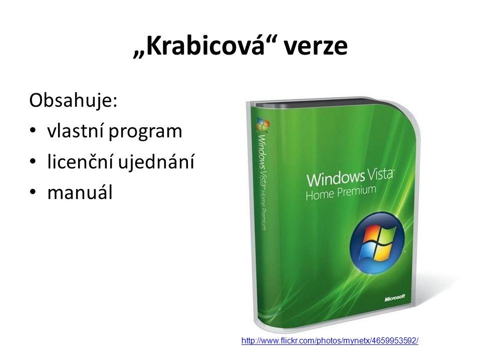 """""""Krabicová verze Obsahuje: vlastní program licenční ujednání manuál http://www.flickr.com/photos/mynetx/4659953592/"""