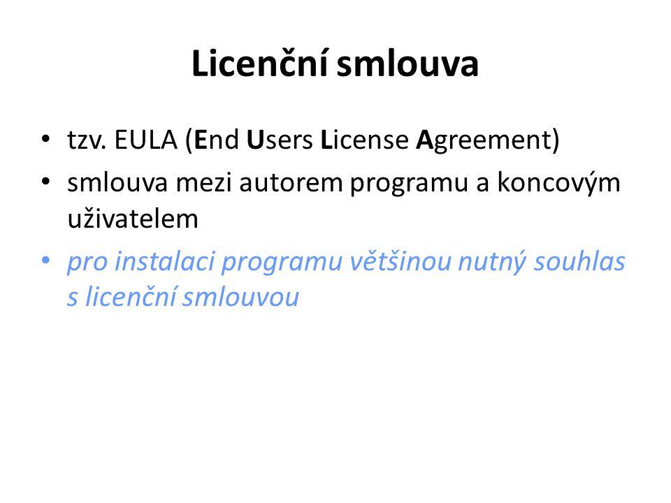 Licenční smlouva tzv.