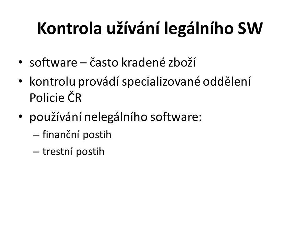 Kontrola užívání legálního SW software – často kradené zboží kontrolu provádí specializované oddělení Policie ČR používání nelegálního software: – finanční postih – trestní postih