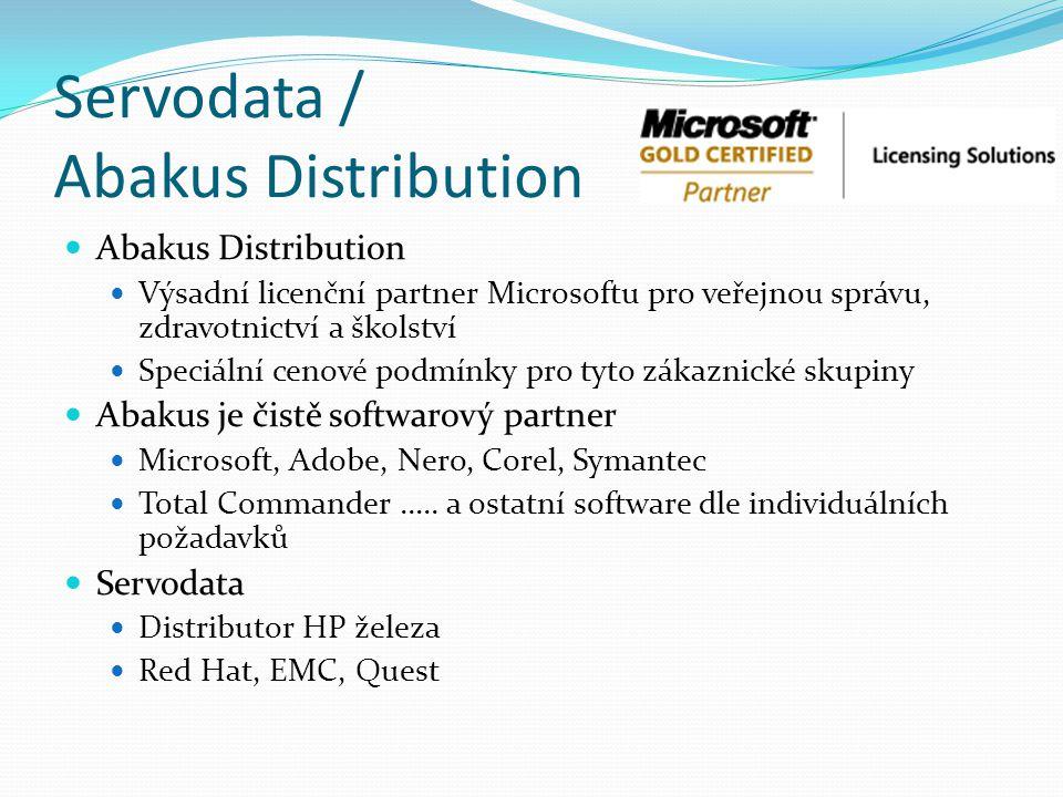 Servodata / Abakus Distribution Abakus Distribution Výsadní licenční partner Microsoftu pro veřejnou správu, zdravotnictví a školství Speciální cenové