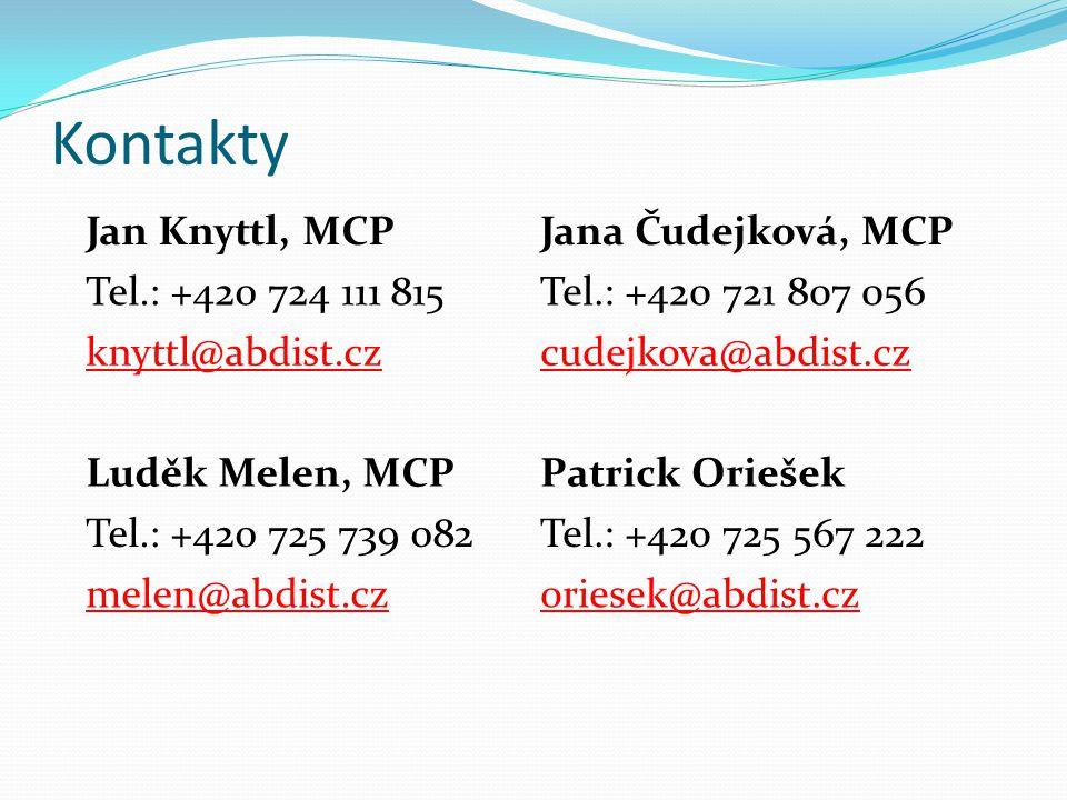 Kontakty Jan Knyttl, MCPJana Čudejková, MCP Tel.: +420 724 111 815Tel.: +420 721 807 056 knyttl@abdist.czcudejkova@abdist.cz Luděk Melen, MCPPatrick O