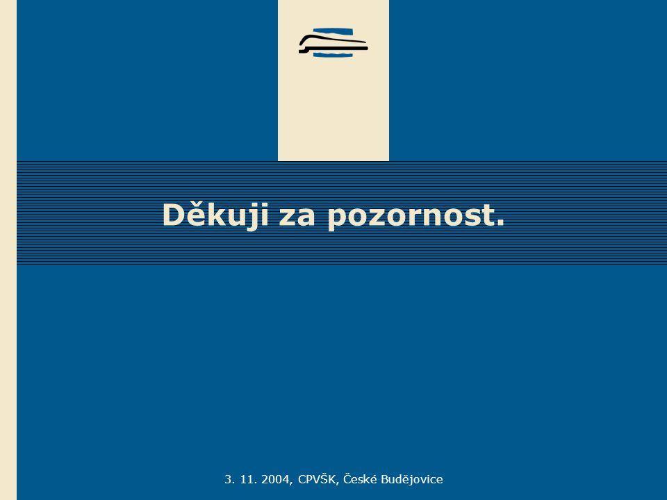 3. 11. 2004, CPVŠK, České Budějovice Děkuji za pozornost.