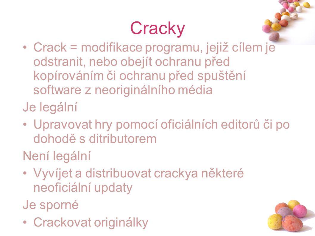 # Cracky Crack = modifikace programu, jejiž cílem je odstranit, nebo obejít ochranu před kopírováním či ochranu před spuštění software z neoriginálníh