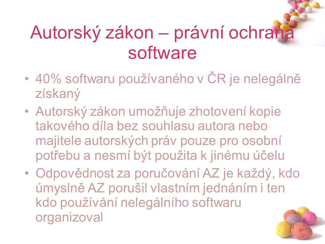 # Autorský zákon – právní ochrana software 40% softwaru používaného v ČR je nelegálně získaný Autorský zákon umožňuje zhotovení kopie takového díla be