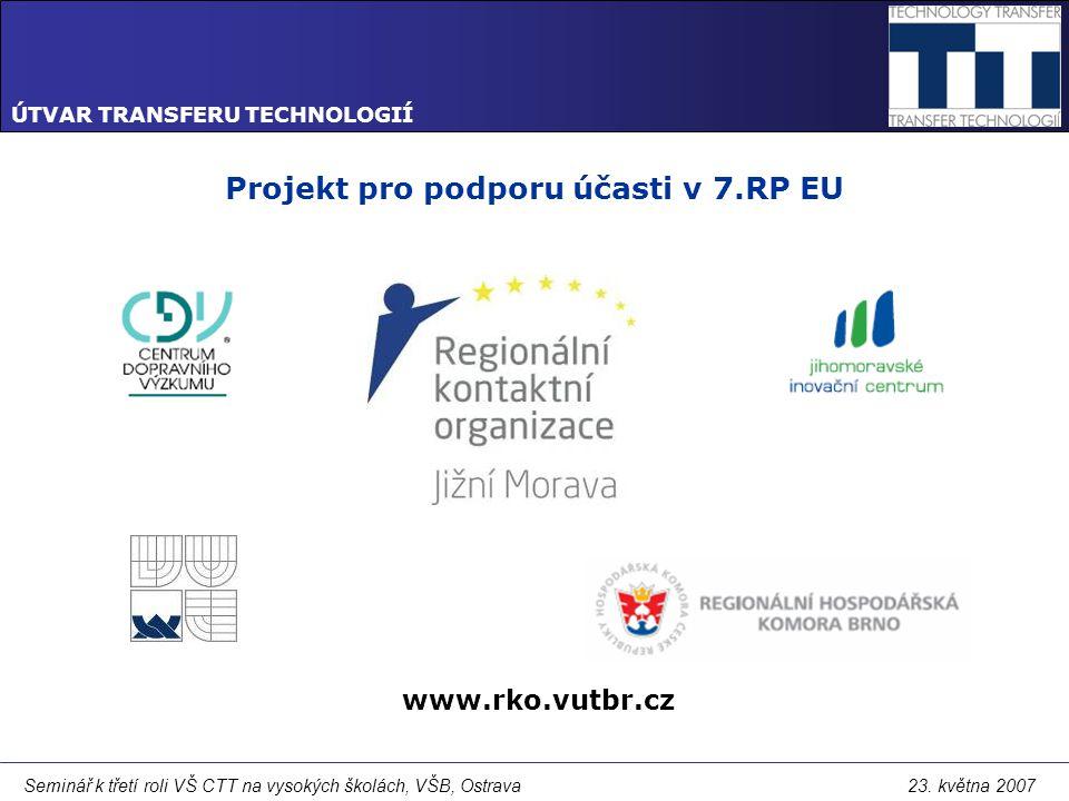 ÚTVAR TRANSFERU TECHNOLOGIÍ Seminář k třetí roli VŠ CTT na vysokých školách, VŠB, Ostrava 23.