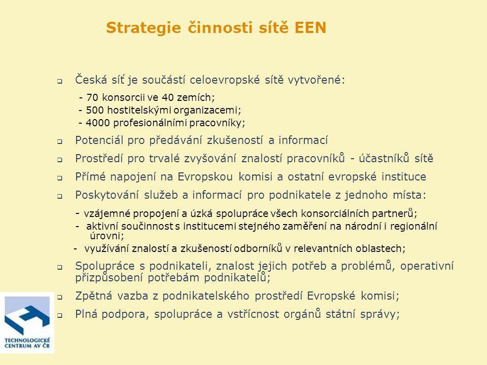 Strategie činnosti sítě EEN  Česká síť je součástí celoevropské sítě vytvořené: - 70 konsorcii ve 40 zemích; - 500 hostitelskými organizacemi; - 4000 profesionálními pracovníky;  Potenciál pro předávání zkušeností a informací  Prostředí pro trvalé zvyšování znalostí pracovníků - účastníků sítě  Přímé napojení na Evropskou komisi a ostatní evropské instituce  Poskytování služeb a informací pro podnikatele z jednoho místa: - vzájemné propojení a úzká spolupráce všech konsorciálních partnerů; - aktivní součinnost s institucemi stejného zaměření na národní i regionální úrovni; - využívání znalostí a zkušeností odborníků v relevantních oblastech;  Spolupráce s podnikateli, znalost jejich potřeb a problémů, operativní přizpůsobení potřebám podnikatelů;  Zpětná vazba z podnikatelského prostředí Evropské komisi;  Plná podpora, spolupráce a vstřícnost orgánů státní správy;