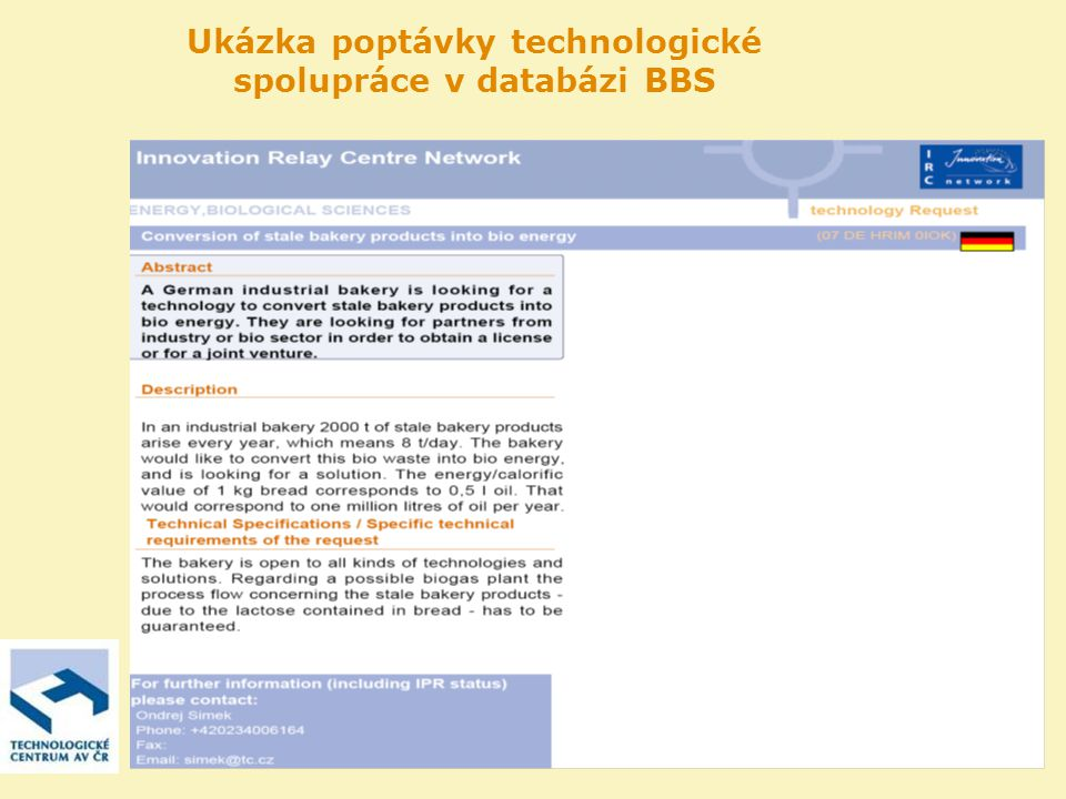 Ukázka poptávky technologické spolupráce v databázi BBS