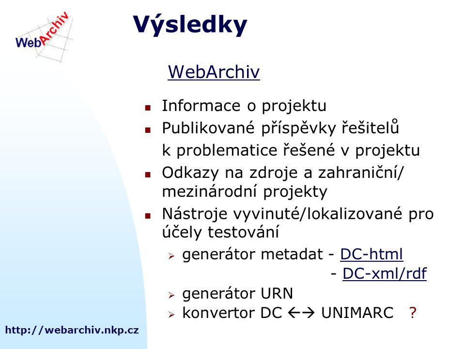 http://webarchiv.nkp.cz Výsledky WebArchiv Informace o projektu Publikované příspěvky řešitelů k problematice řešené v projektu Odkazy na zdroje a zahraniční/ mezinárodní projekty Nástroje vyvinuté/lokalizované pro účely testování  generátor metadat - DC-htmlDC-html - DC-xml/rdfDC-xml/rdf  generátor URN  konvertor DC  UNIMARC