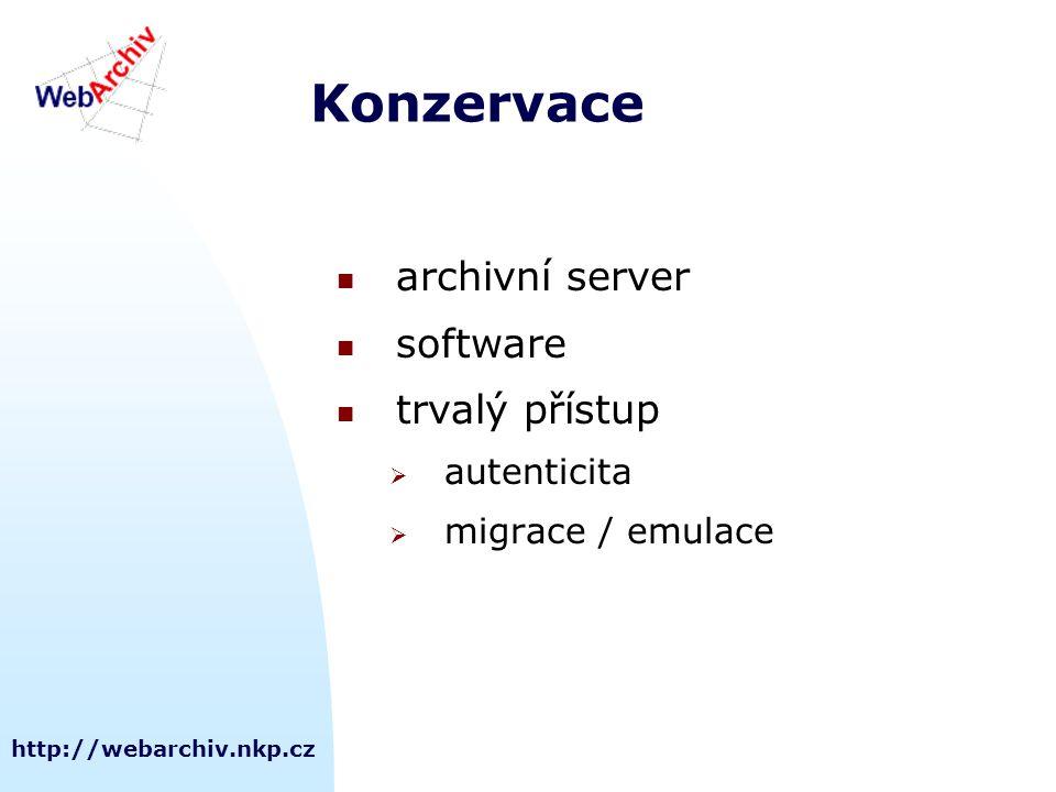 http://webarchiv.nkp.cz Konzervace archivní server software trvalý přístup  autenticita  migrace / emulace