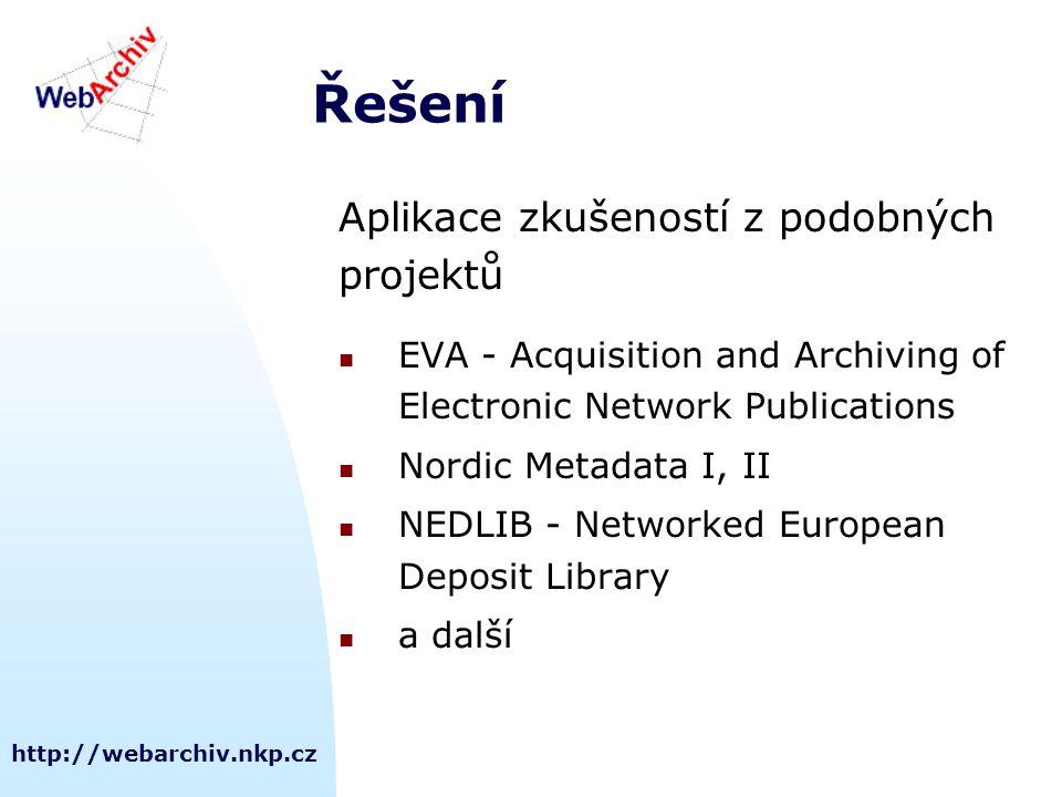 http://webarchiv.nkp.cz Řešení Aplikace zkušeností z podobných projektů EVA - Acquisition and Archiving of Electronic Network Publications Nordic Meta