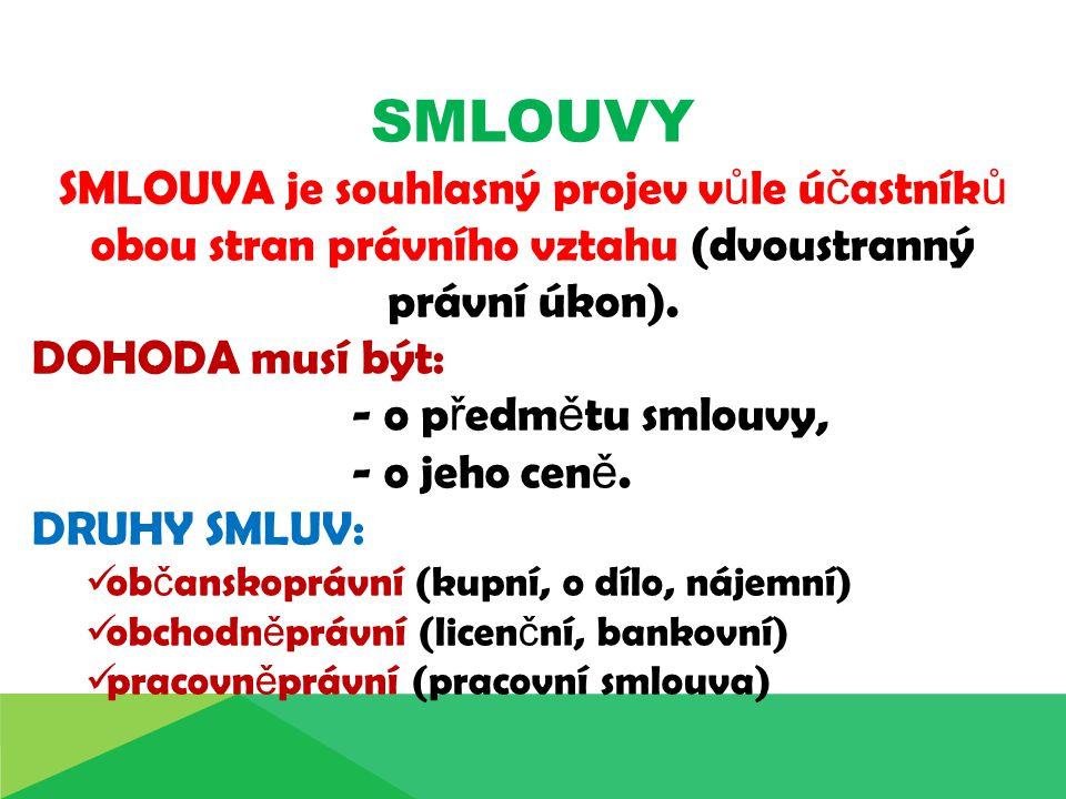 SMLOUVY SMLOUVA je souhlasný projev v ů le ú č astník ů obou stran právního vztahu (dvoustranný právní úkon).