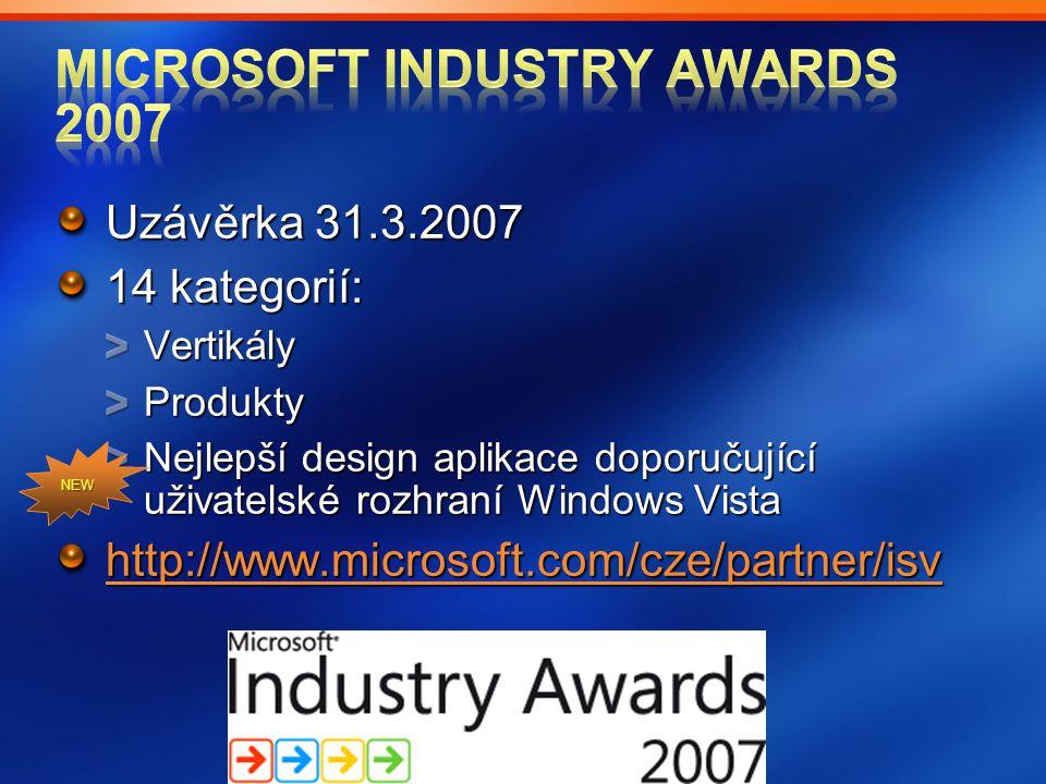 Uzávěrka 31.3.2007 14 kategorií: VertikályProdukty Nejlepší design aplikace doporučující uživatelské rozhraní Windows Vista http://www.microsoft.com/c