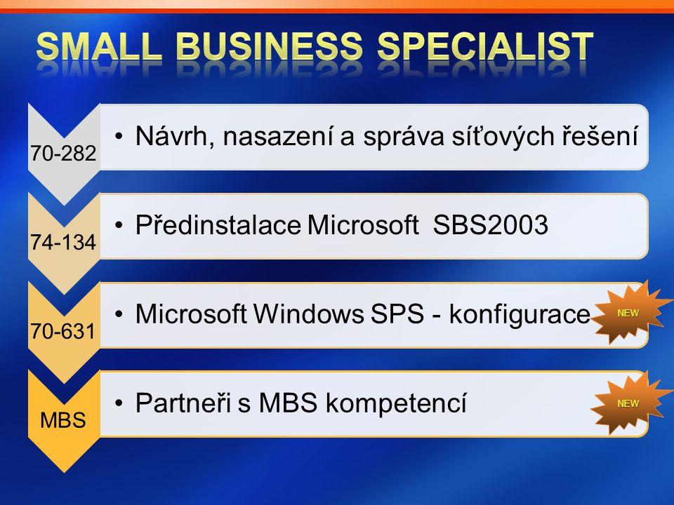 70-282 Návrh, nasazení a správa síťových řešeníNávrh, nasazení a správa síťových řešení 74-134 Předinstalace Microsoft SBS2003Předinstalace Microsoft
