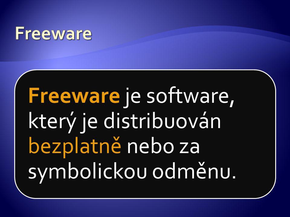 Freeware je software, který je distribuován bezplatně nebo za symbolickou odměnu.