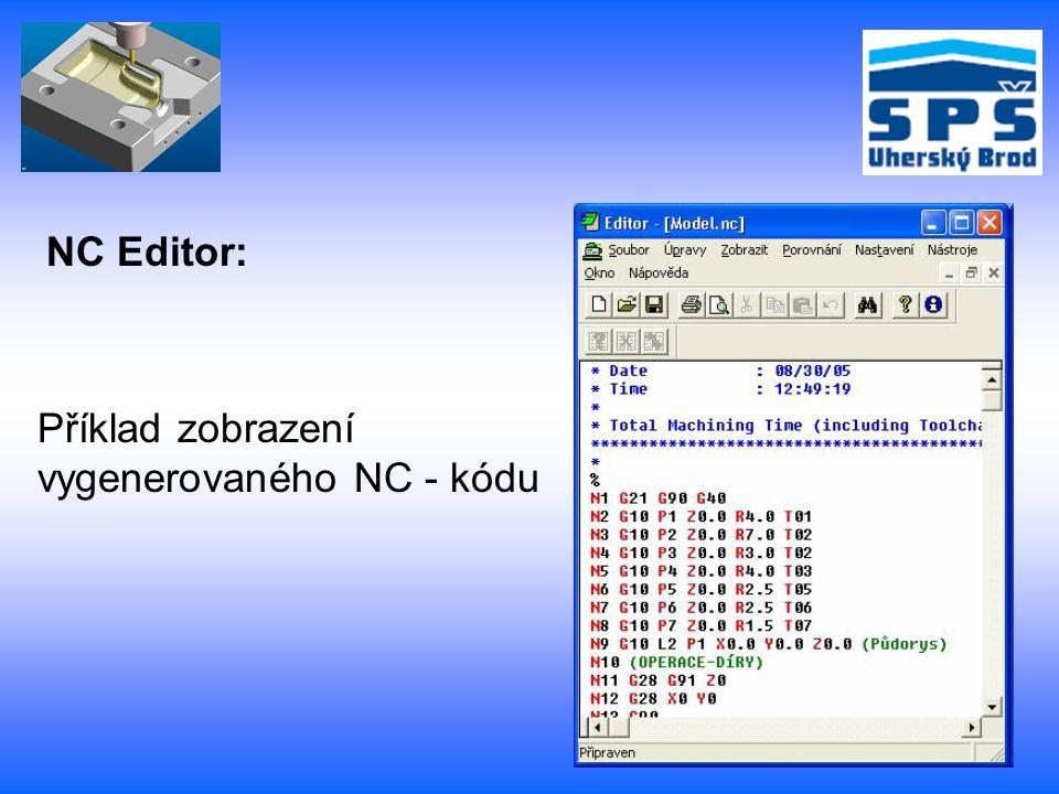 NC Editor: Příklad zobrazení vygenerovaného NC - kódu