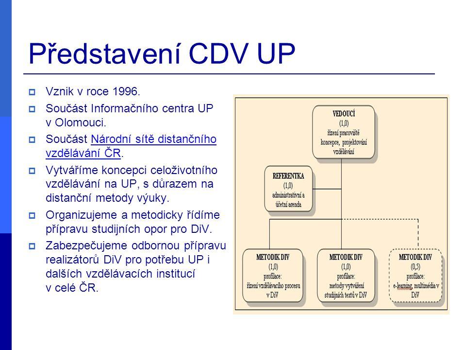 Představení CDV UP  Vznik v roce 1996.  Součást Informačního centra UP v Olomouci.  Součást Národní sítě distančního vzdělávání ČR.Národní sítě dis