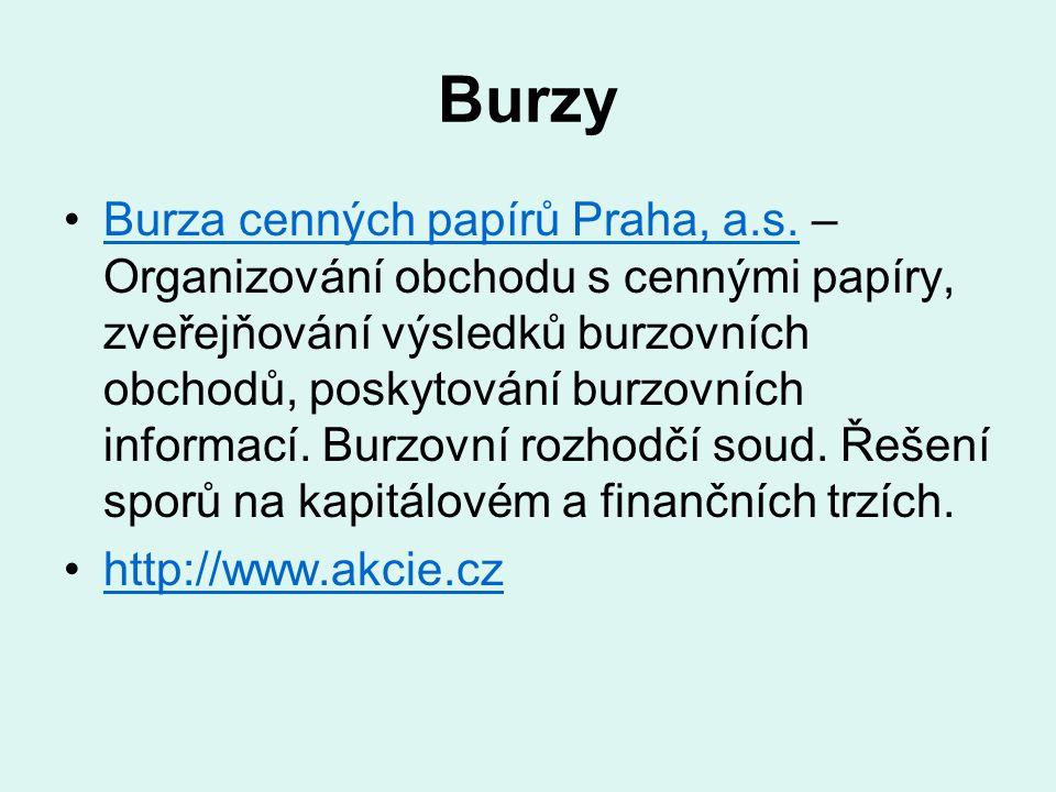 Burzy Burza cenných papírů Praha, a.s. – Organizování obchodu s cennými papíry, zveřejňování výsledků burzovních obchodů, poskytování burzovních infor