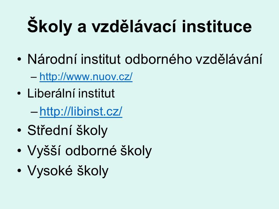 Školy a vzdělávací instituce Národní institut odborného vzdělávání –http://www.nuov.cz/http://www.nuov.cz/ Liberální institut –http://libinst.cz/http:
