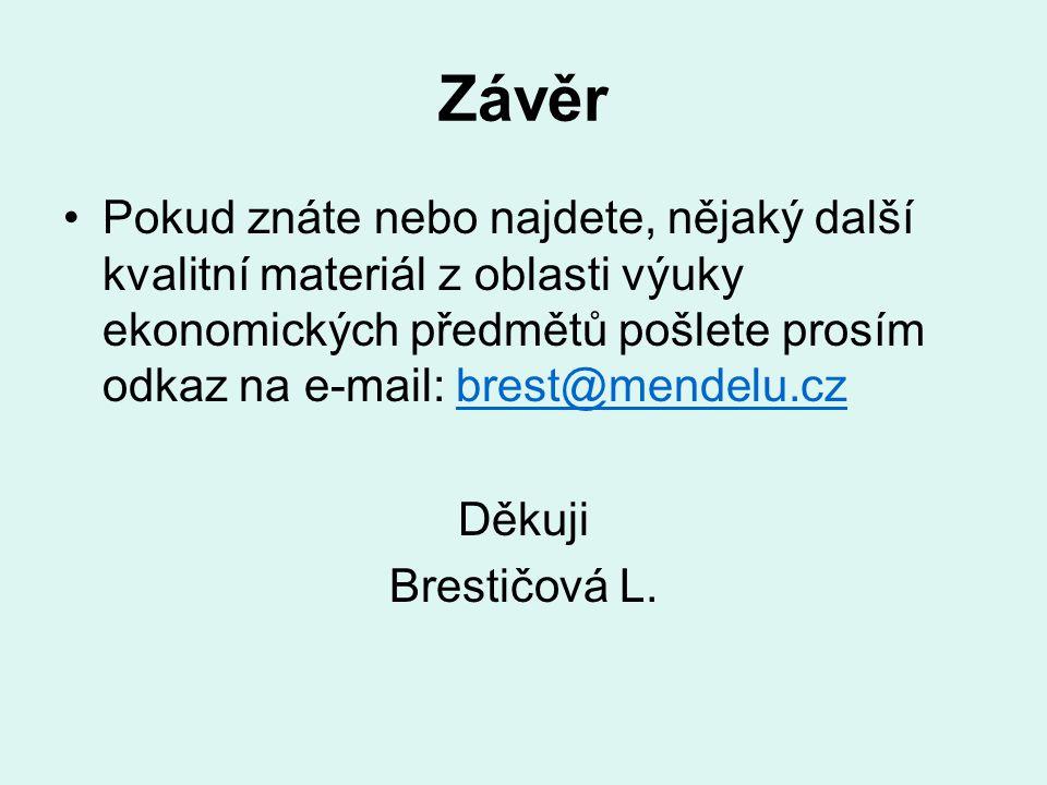 Závěr Pokud znáte nebo najdete, nějaký další kvalitní materiál z oblasti výuky ekonomických předmětů pošlete prosím odkaz na e-mail: brest@mendelu.czb