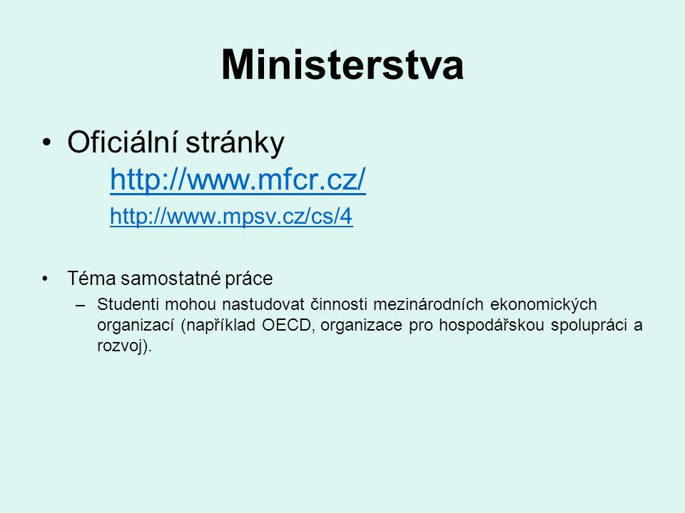 Ministerstva Oficiální stránky http://www.mfcr.cz/ http://www.mfcr.cz/ http://www.mpsv.cz/cs/4 Téma samostatné práce –Studenti mohou nastudovat činnos