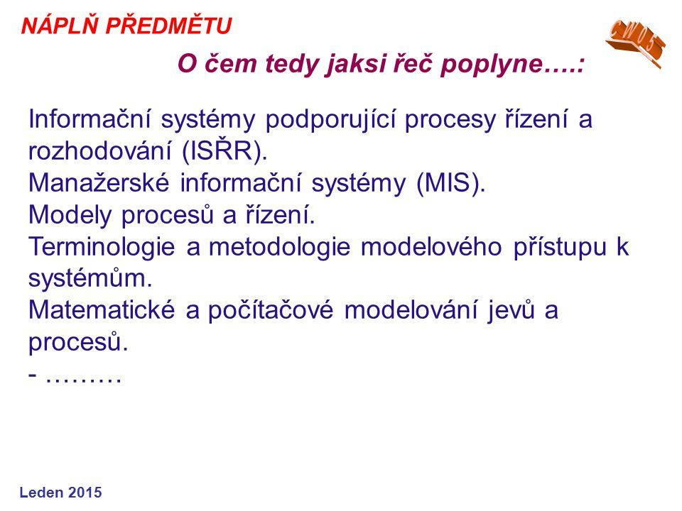 Informační systémy podporující procesy řízení a rozhodování (ISŘR).