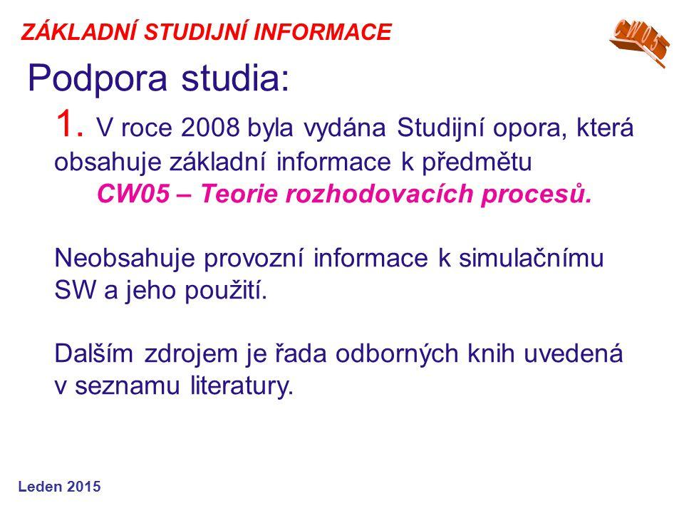 Podpora studia: 1. V roce 2008 byla vydána Studijní opora, která obsahuje základní informace k předmětu CW05 – Teorie rozhodovacích procesů. Neobsahuj