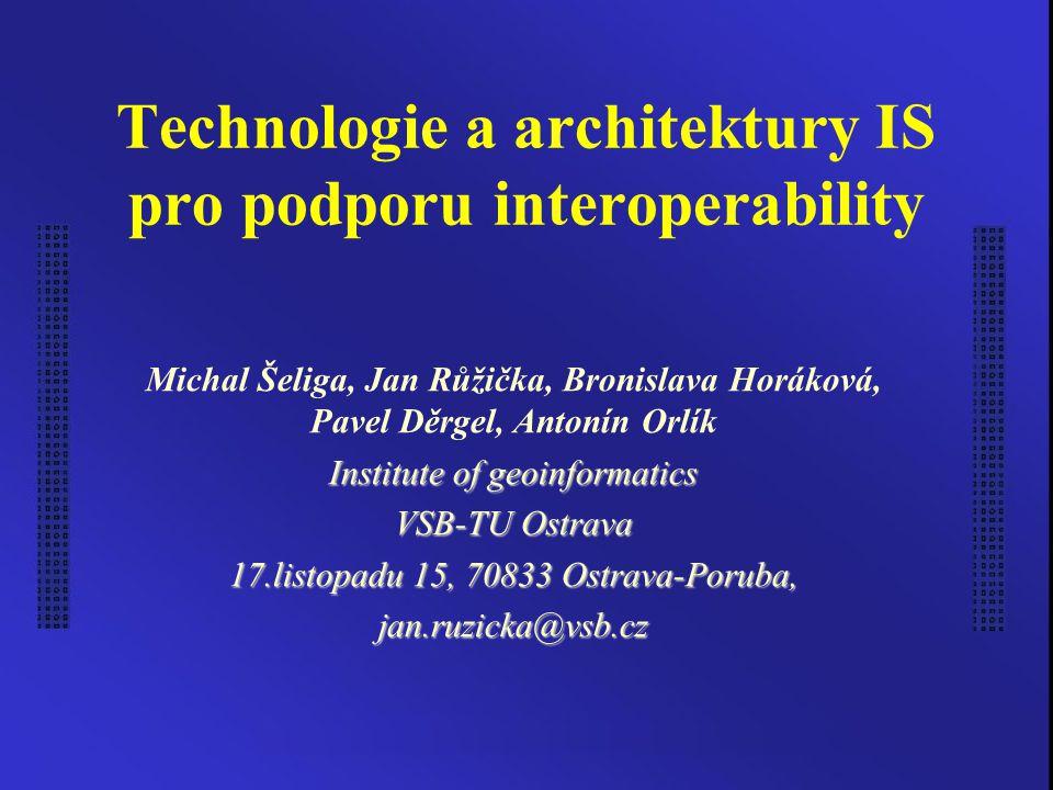 Technologie a architektury IS pro podporu interoperability Michal Šeliga, Jan Růžička, Bronislava Horáková, Pavel Děrgel, Antonín Orlík Institute of g
