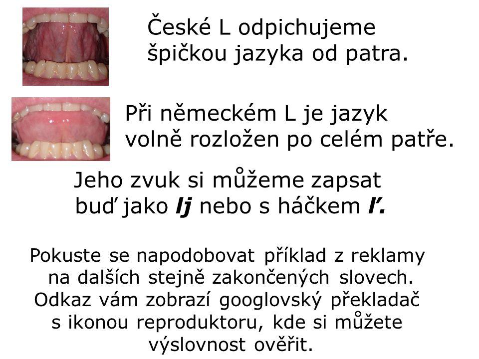 České L odpichujeme špičkou jazyka od patra. Při německém L je jazyk volně rozložen po celém patře. Jeho zvuk si můžeme zapsat buď jako lj nebo s háčk