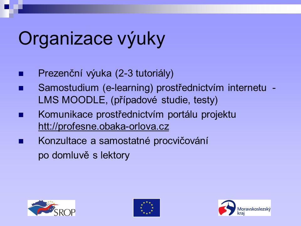 Organizace výuky Prezenční výuka (2-3 tutoriály) Samostudium (e-learning) prostřednictvím internetu - LMS MOODLE, (případové studie, testy) Komunikace