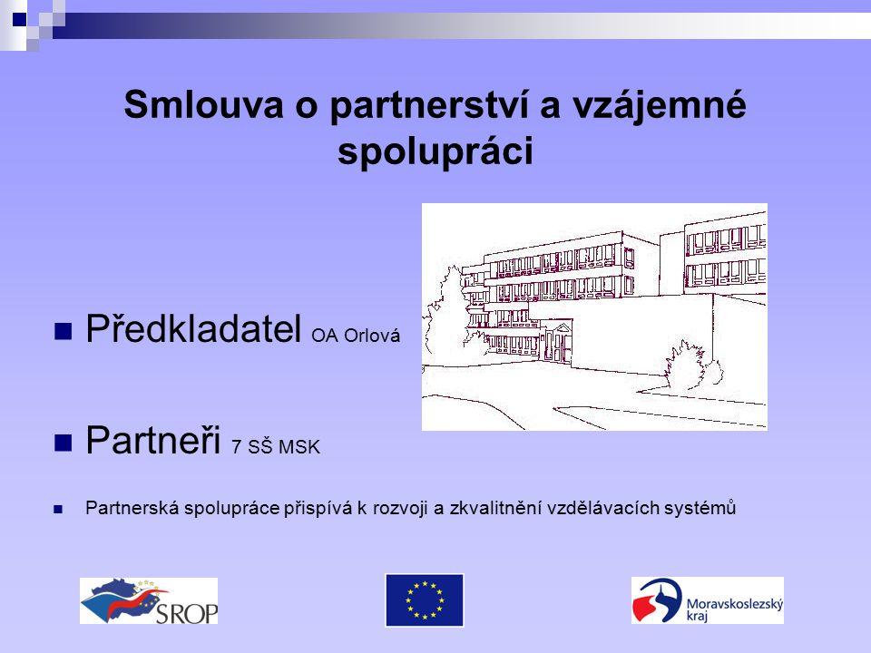 Smlouva o partnerství a vzájemné spolupráci Předkladatel OA Orlová Partneři 7 SŠ MSK Partnerská spolupráce přispívá k rozvoji a zkvalitnění vzdělávacích systémů