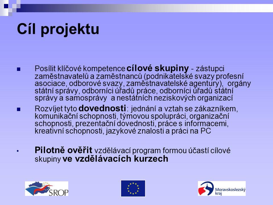 Cíl projektu Posílit klíčové kompetence cílové skupiny - zástupci zaměstnavatelů a zaměstnanců (podnikatelské svazy profesní asociace, odborové svazy,