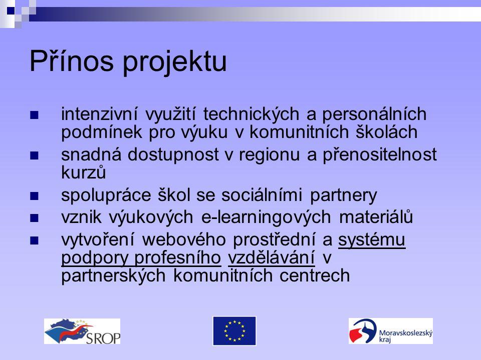 Přínos projektu intenzivní využití technických a personálních podmínek pro výuku v komunitních školách snadná dostupnost v regionu a přenositelnost kurzů spolupráce škol se sociálními partnery vznik výukových e-learningových materiálů vytvoření webového prostřední a systému podpory profesního vzdělávání v partnerských komunitních centrech