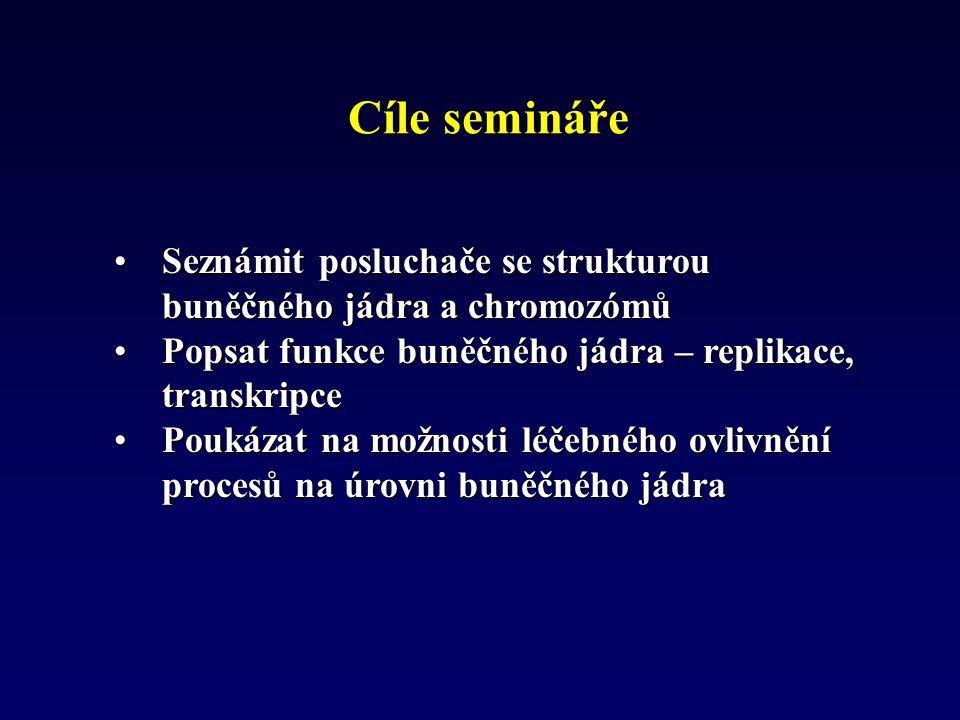 Cíle semináře Seznámit posluchače se strukturou buněčného jádra a chromozómůSeznámit posluchače se strukturou buněčného jádra a chromozómů Popsat funk