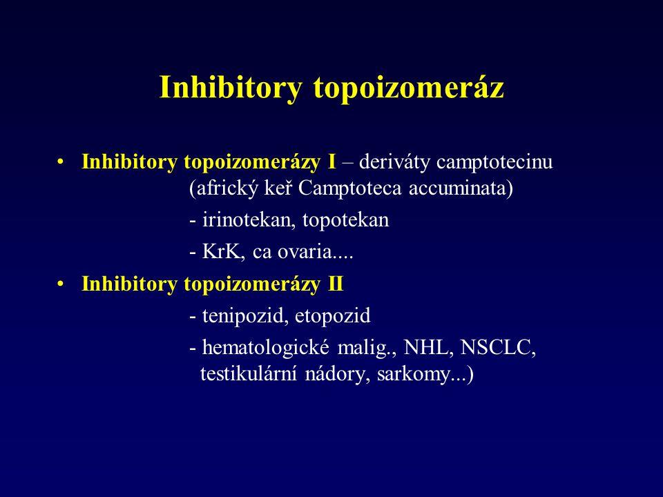 Inhibitory topoizomeráz Inhibitory topoizomerázy I – deriváty camptotecinu (africký keř Camptoteca accuminata) - irinotekan, topotekan - KrK, ca ovari