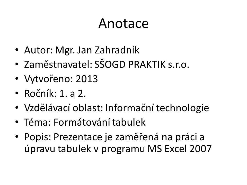 Anotace Autor: Mgr. Jan Zahradník Zaměstnavatel: SŠOGD PRAKTIK s.r.o.