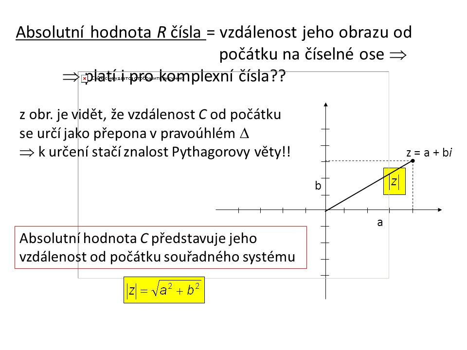 ABSOLUTNÍ HODNOTA KOMPLEXNÍHO ČÍSLA Př.: z = 3 + 2i z = -2 – i Je-li  z  = 1  komplexní jednotka; obrazy komplexních jednotek leží na jednotkové kružnici v Gaussově rovině