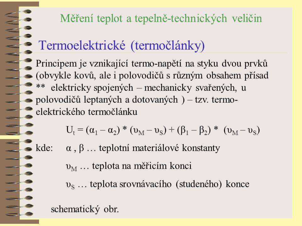 Měření teplot a tepelně-technických veličin Termoelektrické (termočlánky) schematický obr.